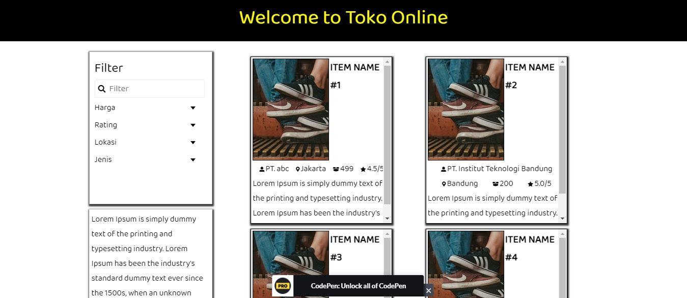 Cara Membuat Web Toko Online dengan HTML CSS