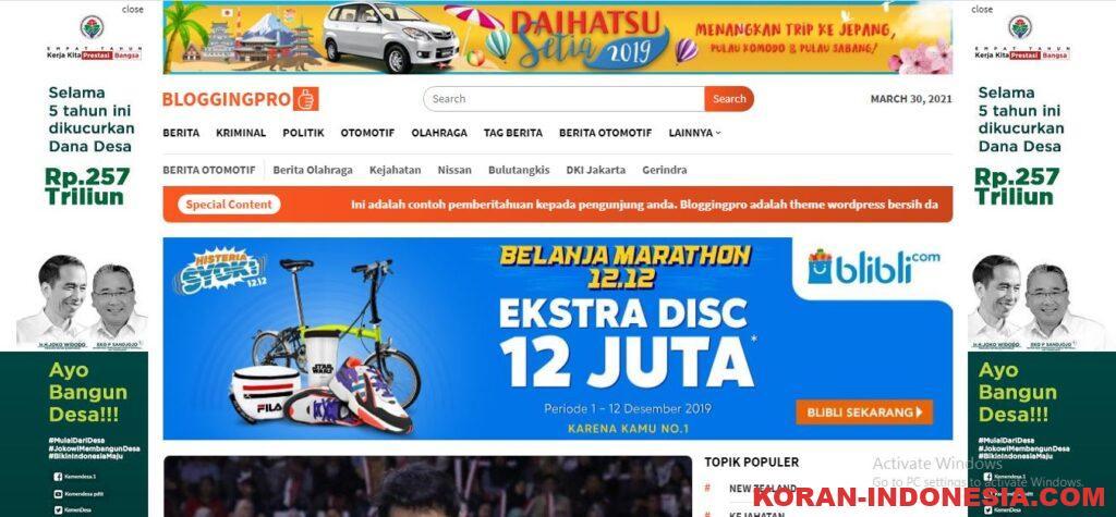 Jasa Install Theme Bloggingpro Original Murah Meriah